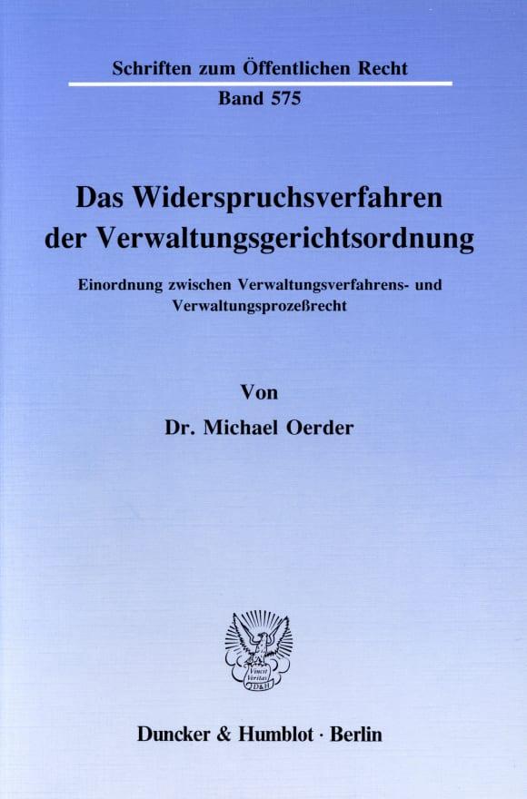 Cover Das Widerspruchsverfahren der Verwaltungsgerichtsordnung