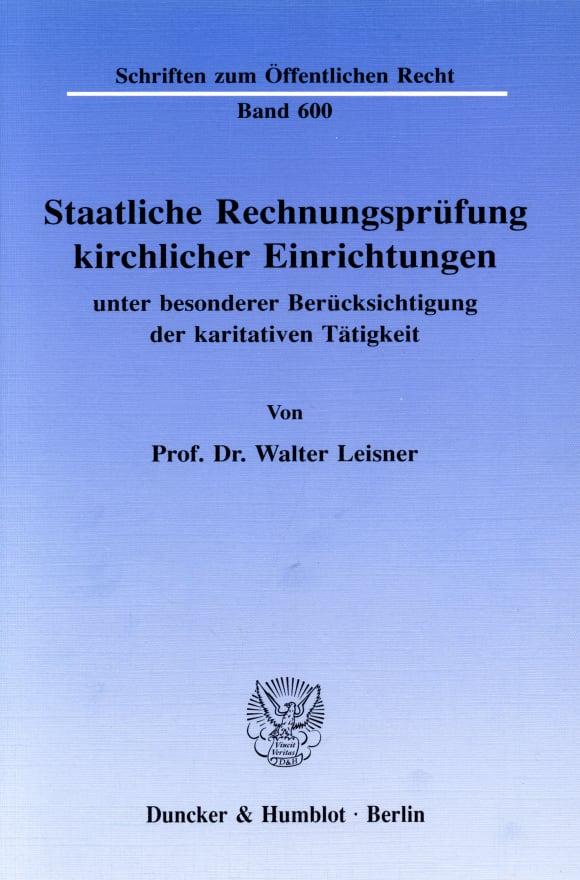 Cover Staatliche Rechnungsprüfung kirchlicher Einrichtungen,