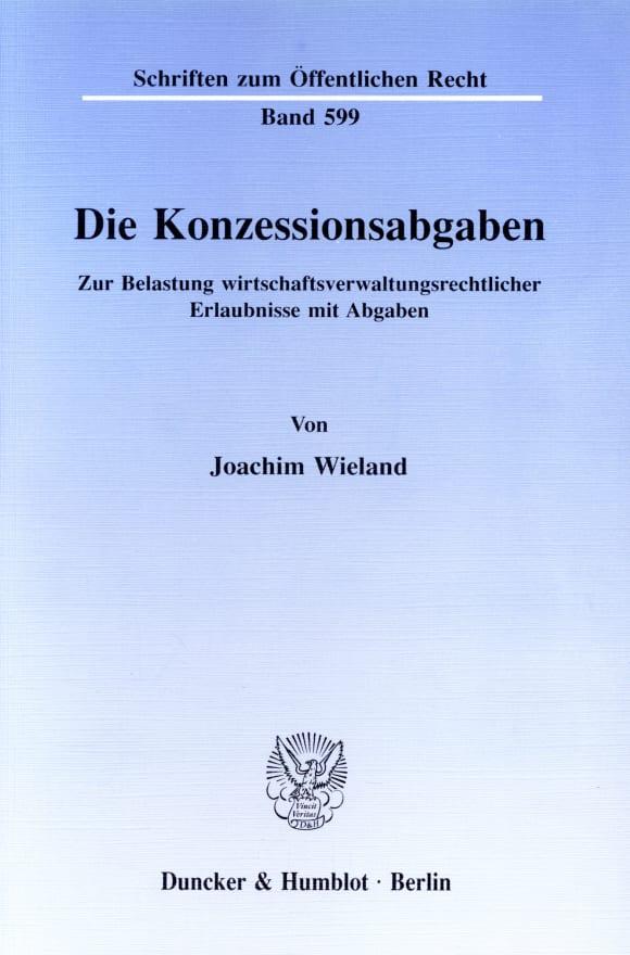 Cover Die Konzessionsabgaben