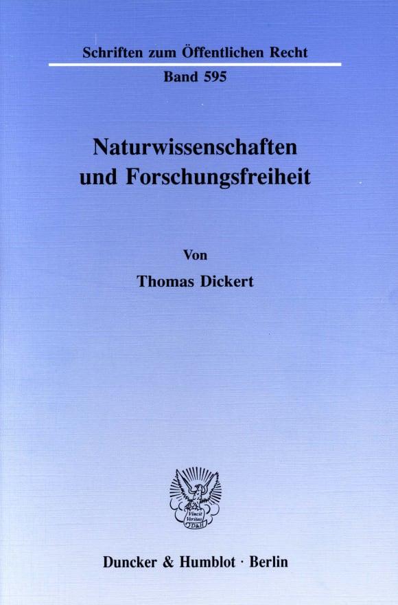 Cover Naturwissenschaften und Forschungsfreiheit