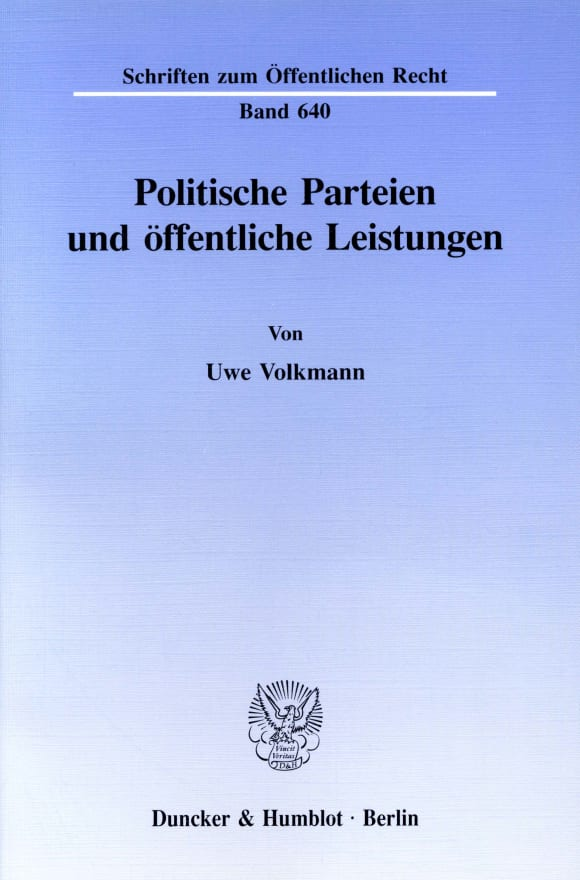Cover Politische Parteien und öffentliche Leistungen
