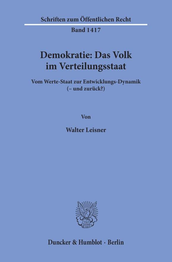 Cover Demokratie: Das Volk im Verteilungsstaat