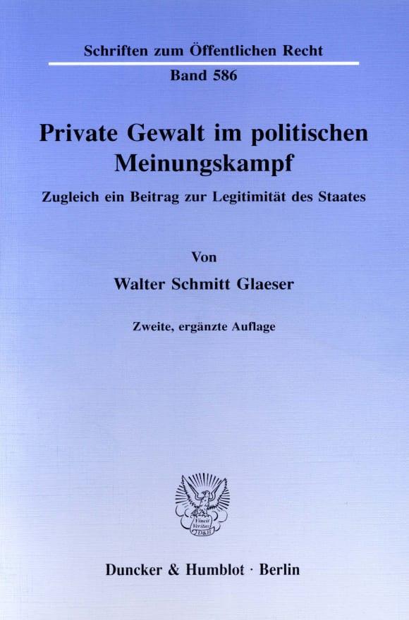 Cover Private Gewalt im politischen Meinungskampf