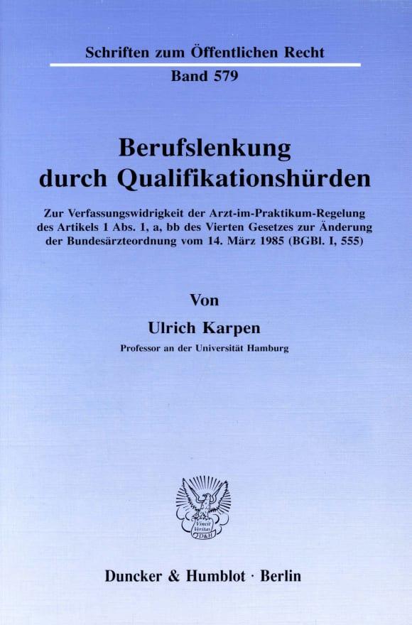 Cover Berufslenkung durch Qualifikationshürden