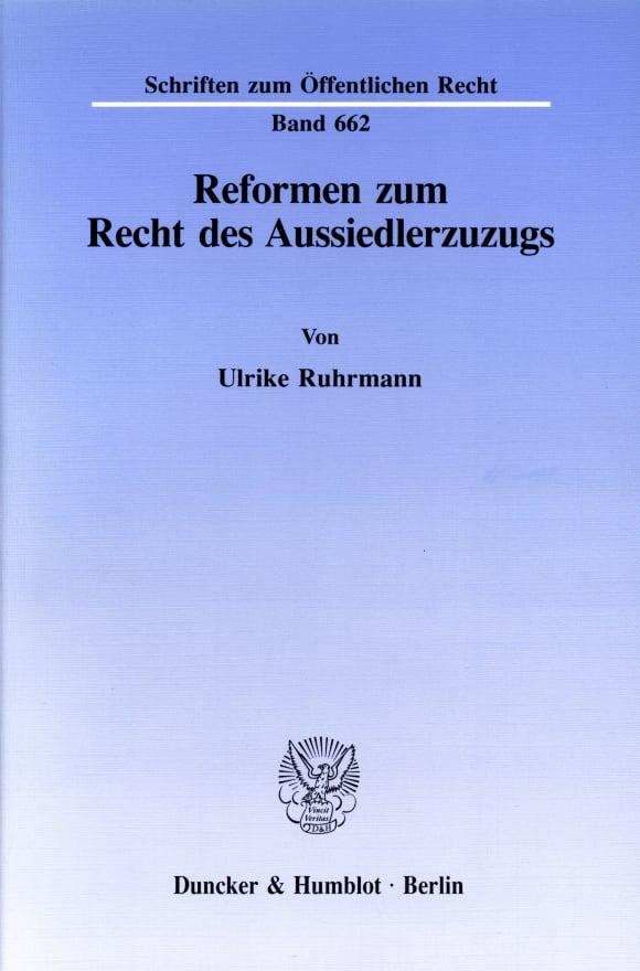 Cover Reformen zum Recht des Aussiedlerzuzugs