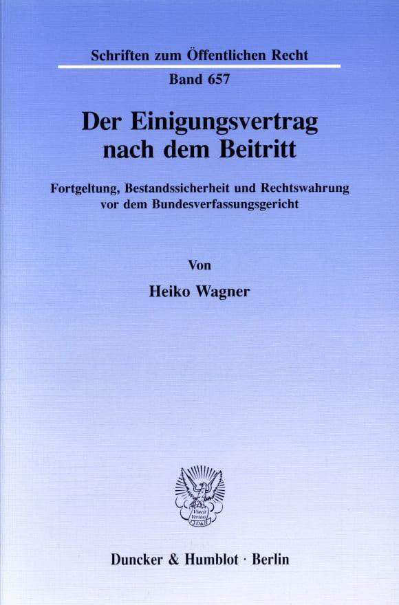 Cover Der Einigungsvertrag nach dem Beitritt