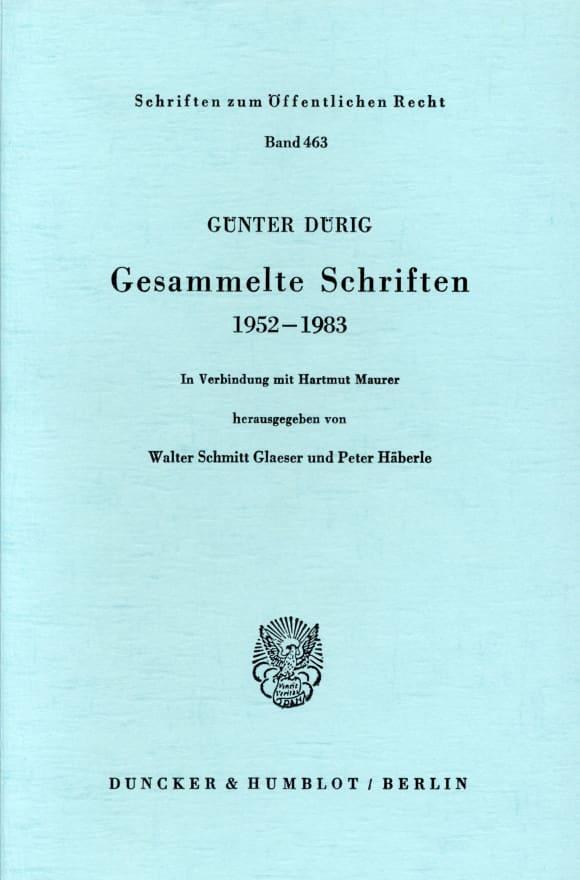 Cover Gesammelte Schriften 1952 - 1983