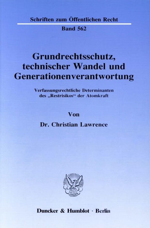 Cover Grundrechtsschutz, technischer Wandel und Generationenverantwortung