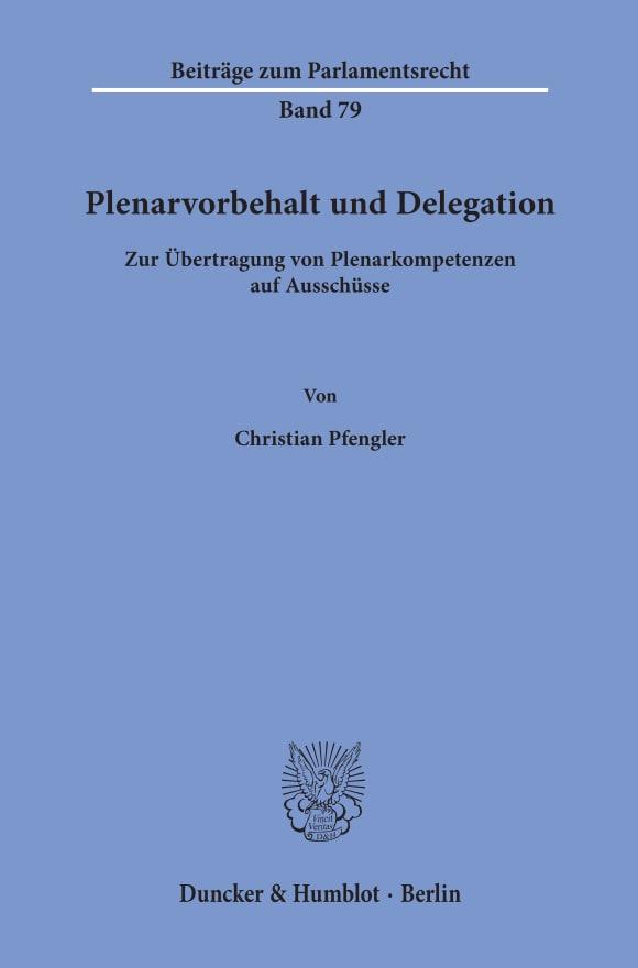 Cover Plenarvorbehalt und Delegation