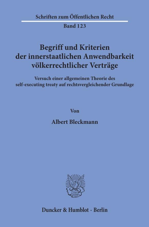 Cover Begriff und Kriterien der innerstaatlichen Anwendbarkeit völkerrechtlicher Verträge