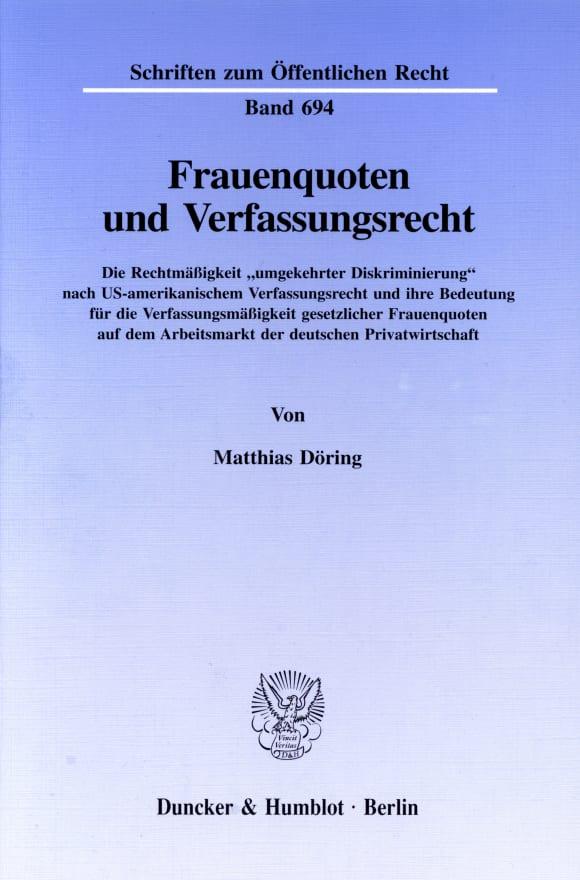 Cover Frauenquoten und Verfassungsrecht