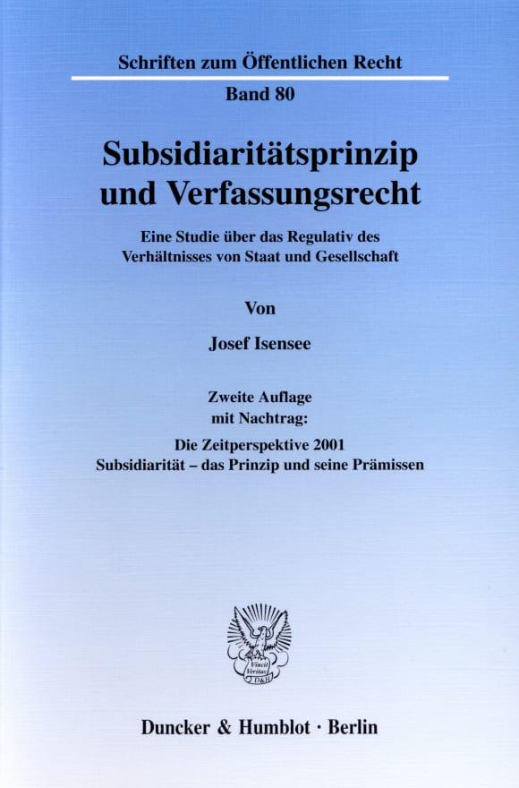 Cover Subsidiaritätsprinzip und Verfassungsrecht