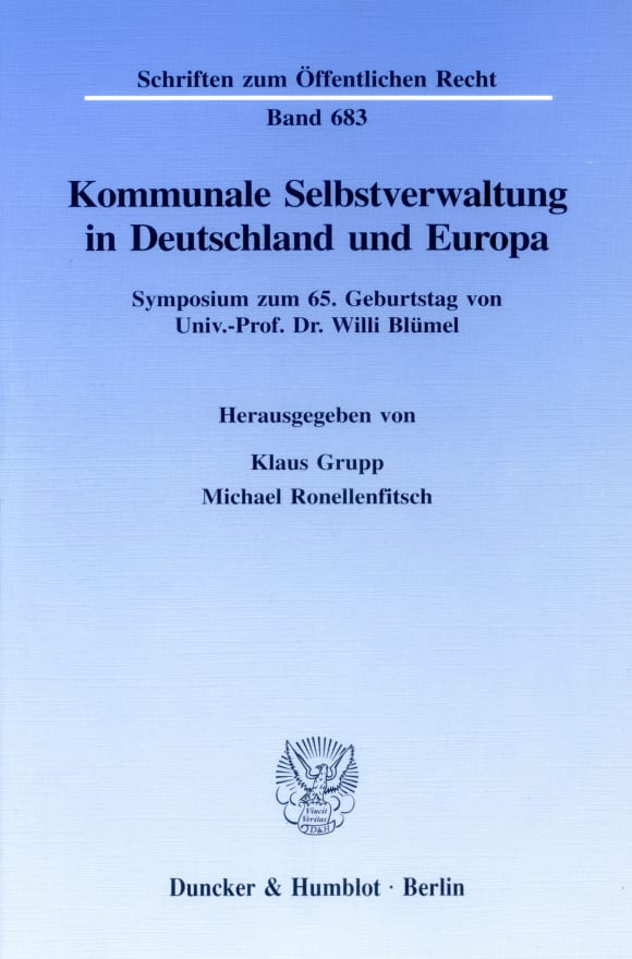 Cover Kommunale Selbstverwaltung in Deutschland und Europa