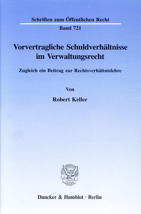 Cover Vorvertragliche Schuldverhältnisse im Verwaltungsrecht