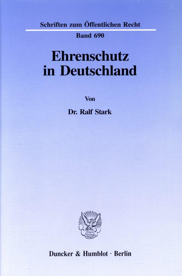 Cover Ehrenschutz in Deutschland
