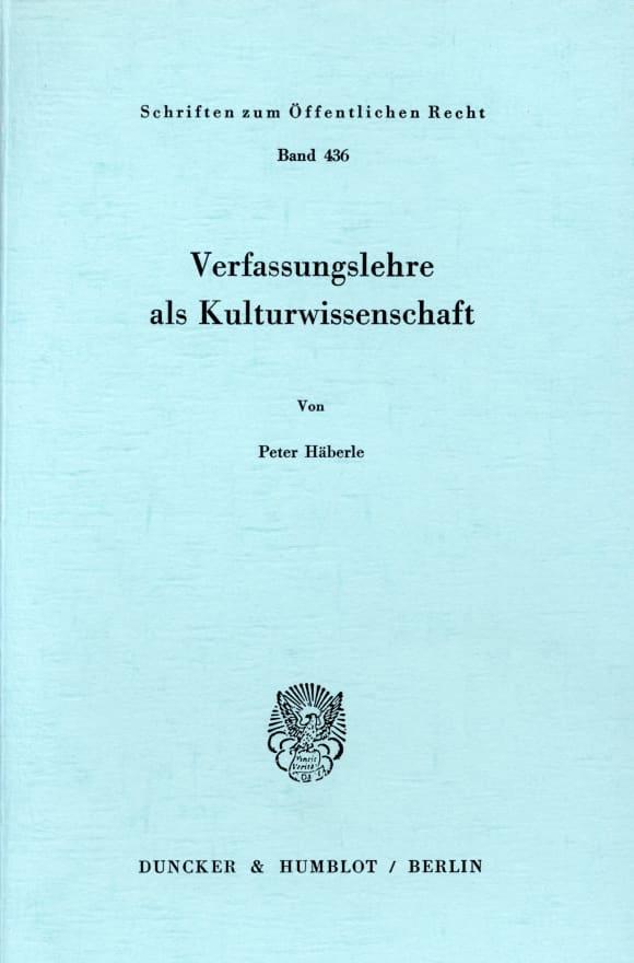 Cover Verfassungslehre als Kulturwissenschaft