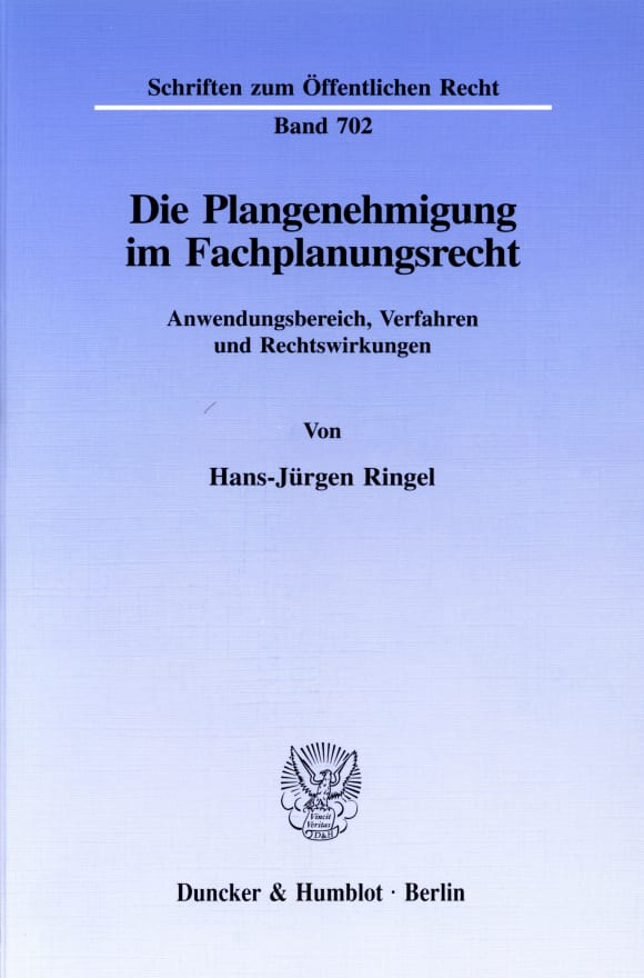 Cover Die Plangenehmigung im Fachplanungsrecht