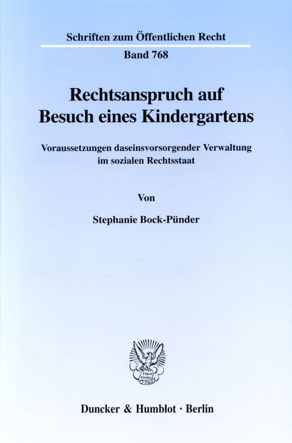 Cover Rechtsanspruch auf Besuch eines Kindergartens