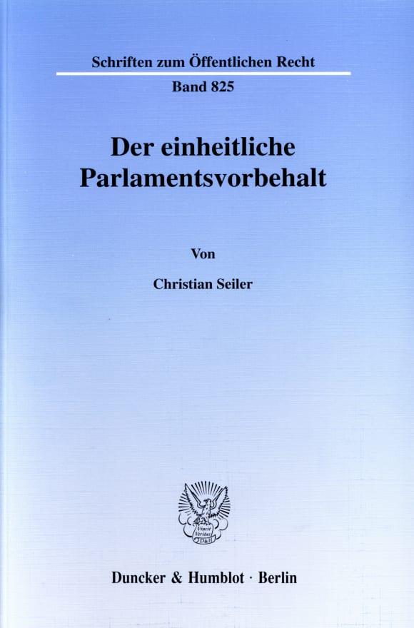 Cover Der einheitliche Parlamentsvorbehalt