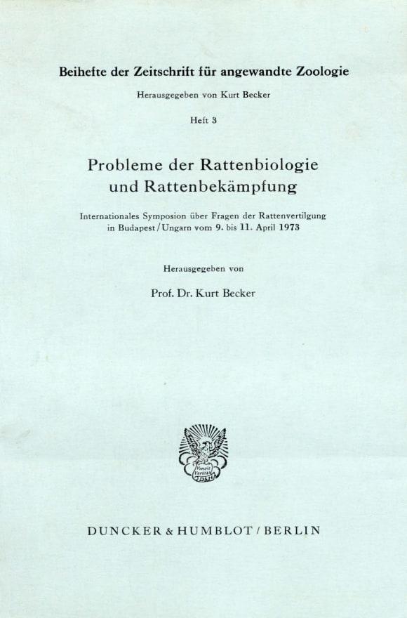 Cover Zeitschrift für angewandte Zoologie. Beihefte (BH ZFAZ)
