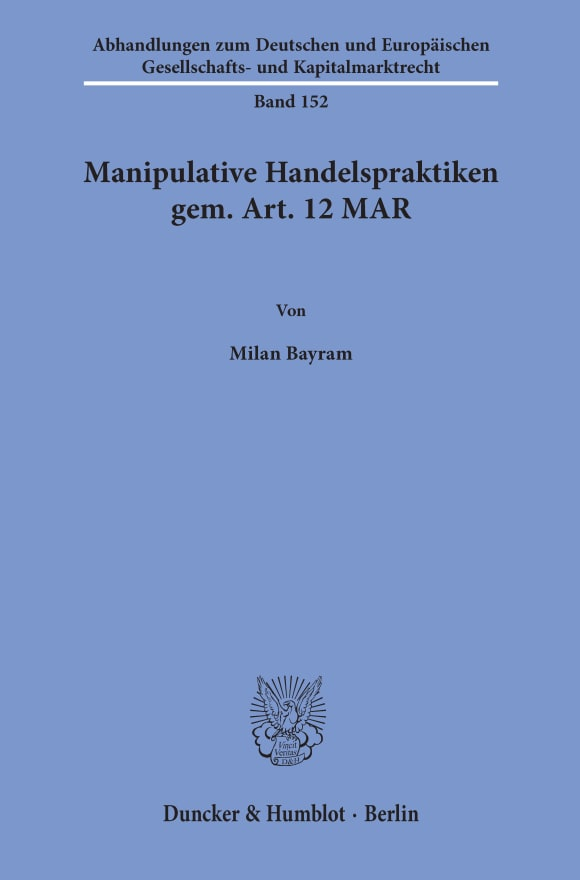Cover Manipulative Handelspraktiken gem. Art. 12 MAR