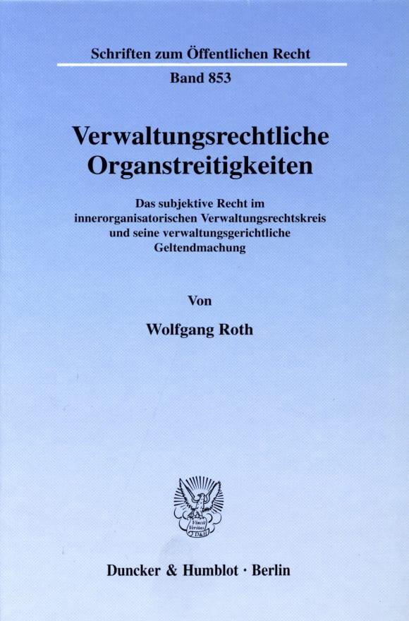 Cover Verwaltungsrechtliche Organstreitigkeiten