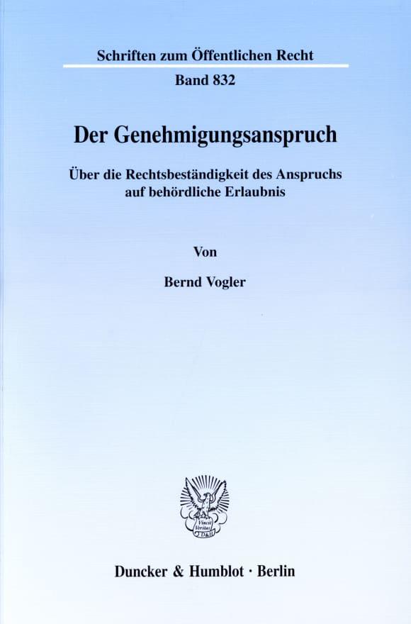 Cover Der Genehmigungsanspruch
