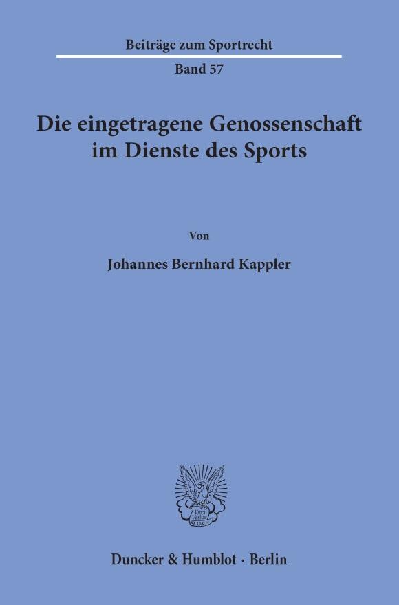 Cover Die eingetragene Genossenschaft im Dienste des Sports