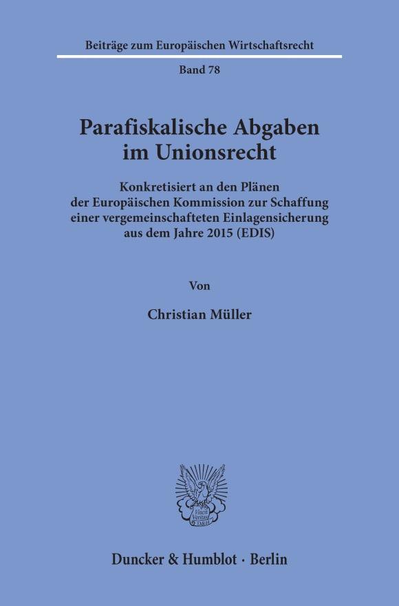 Cover Parafiskalische Abgaben im Unionsrecht