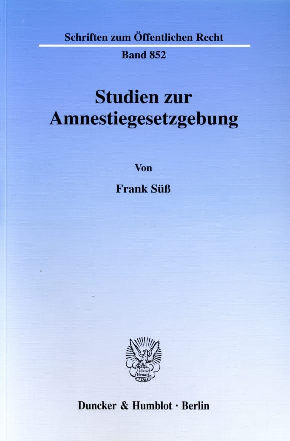 Cover Studien zur Amnestiegesetzgebung