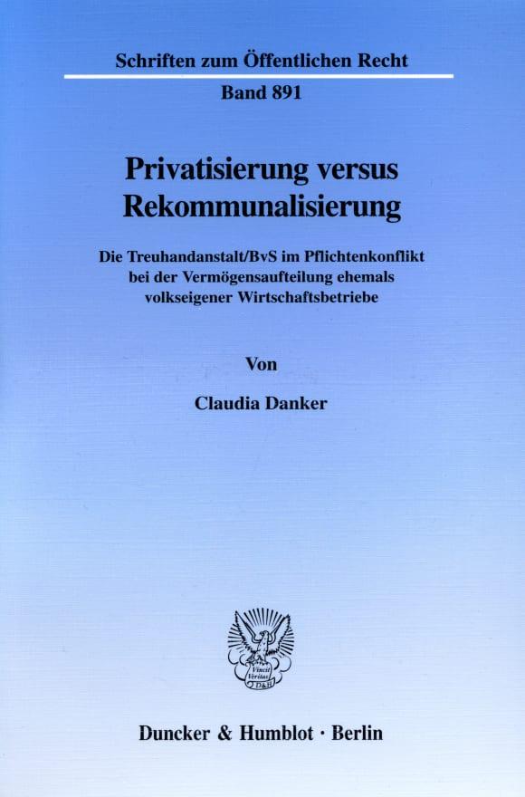 Cover Privatisierung versus Rekommunalisierung