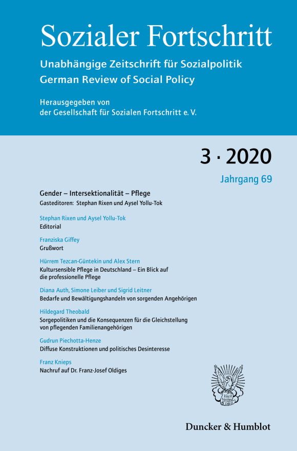 Cover Gender – Intersektionalität – Pflege (SF 3/2020)
