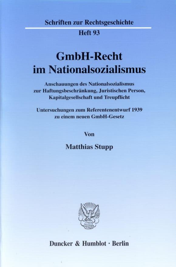 Cover GmbH-Recht im Nationalsozialismus