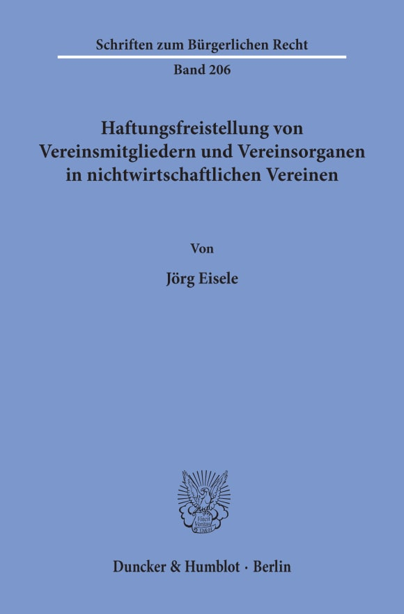 Cover Haftungsfreistellung von Vereinsmitgliedern und Vereinsorganen in nichtwirtschaftlichen Vereinen