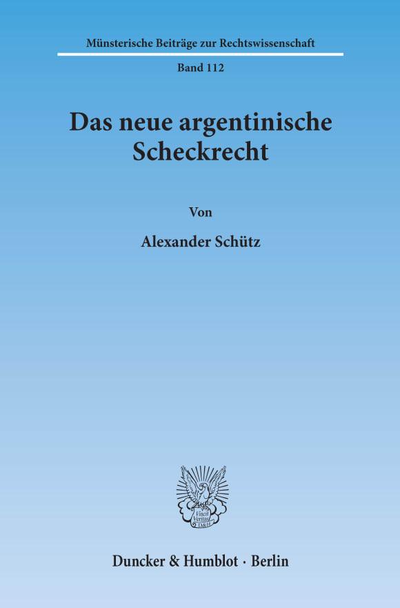 Cover Das neue argentinische Scheckrecht
