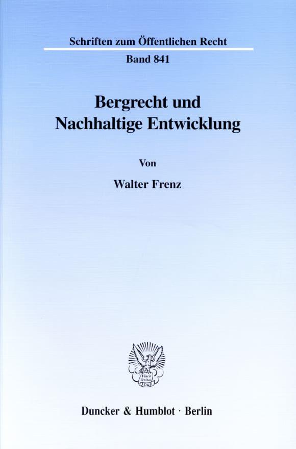 Cover Bergrecht und Nachhaltige Entwicklung