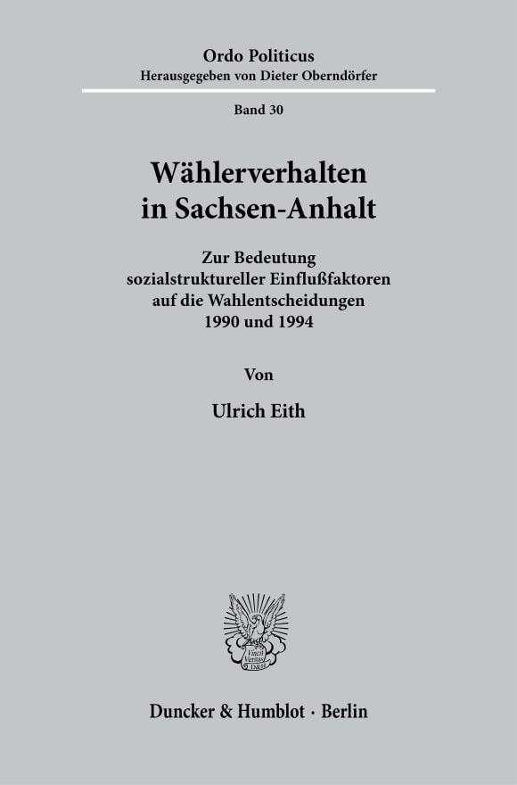 Cover Wählerverhalten in Sachsen-Anhalt