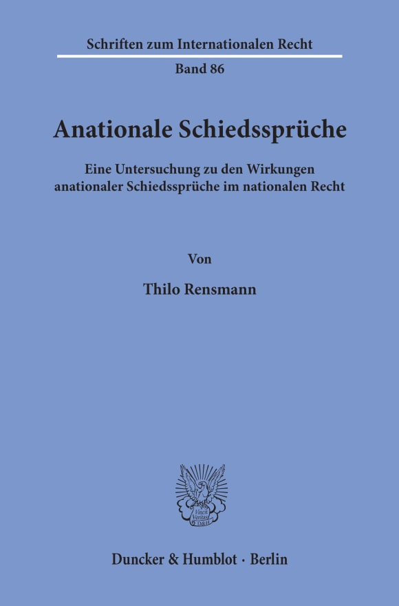 Cover Anationale Schiedssprüche