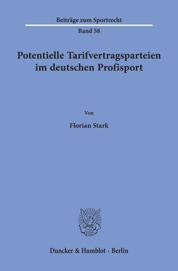 Cover Potentielle Tarifvertragsparteien im deutschen Profisport