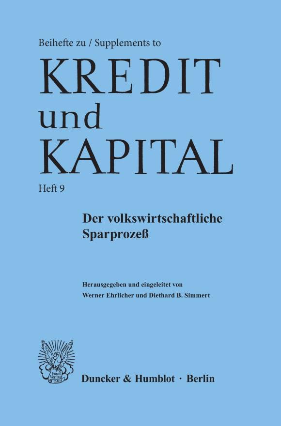 Cover Der volkswirtschaftliche Sparprozeß