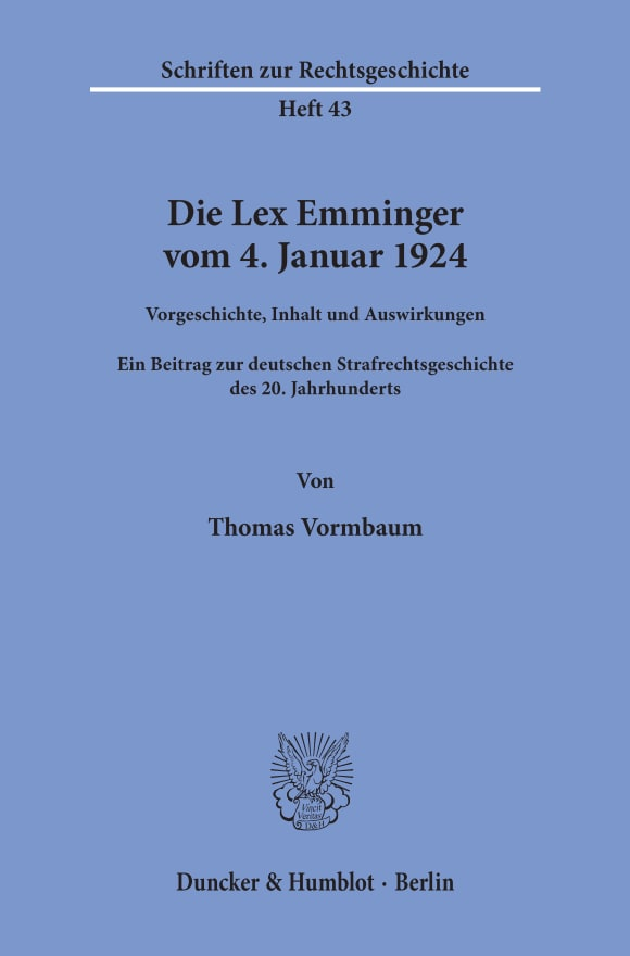 Cover Die Lex Emminger vom 4. Januar 1924