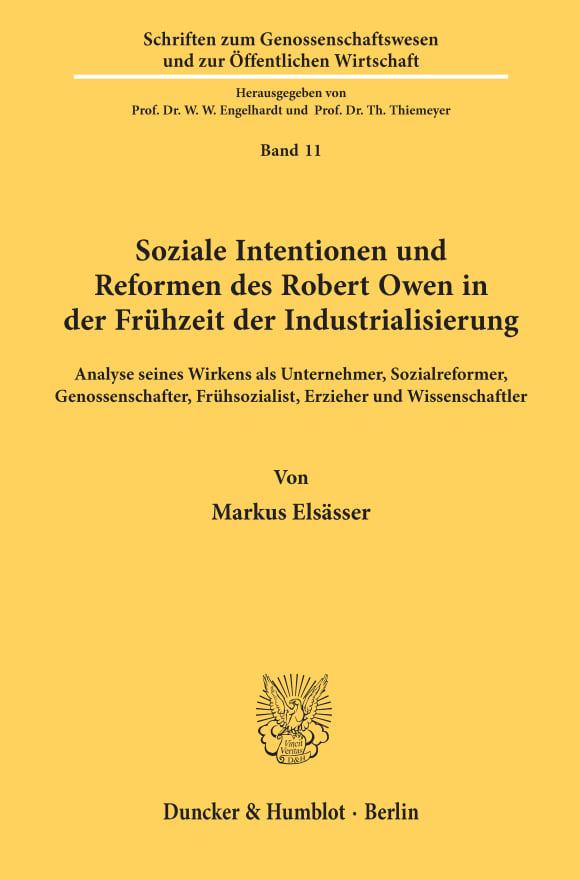Cover Soziale Intentionen und Reformen des Robert Owen in der Frühzeit der Industrialisierung