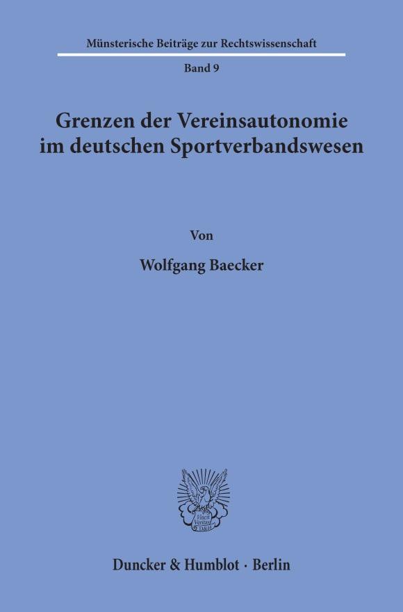 Cover Grenzen der Vereinsautonomie im deutschen Sportverbandswesen