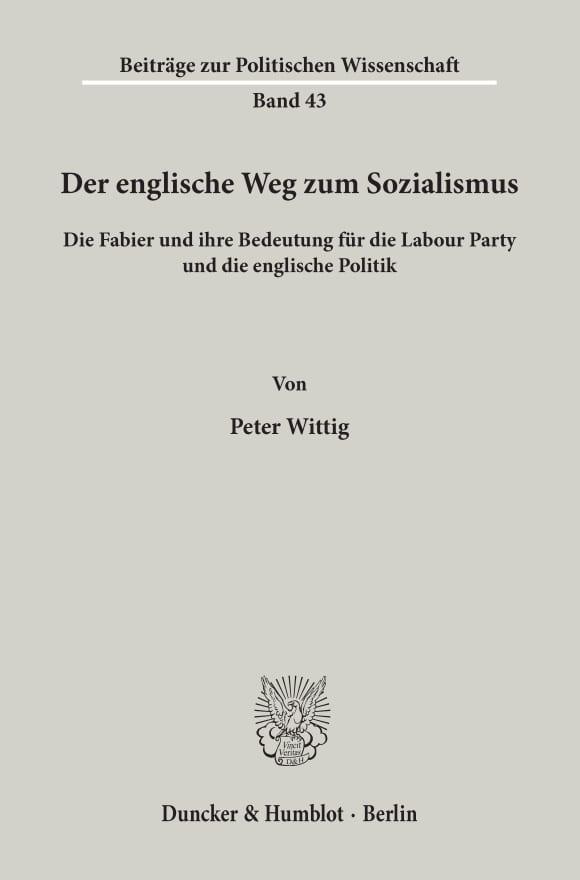 Cover Der englische Weg zum Sozialismus