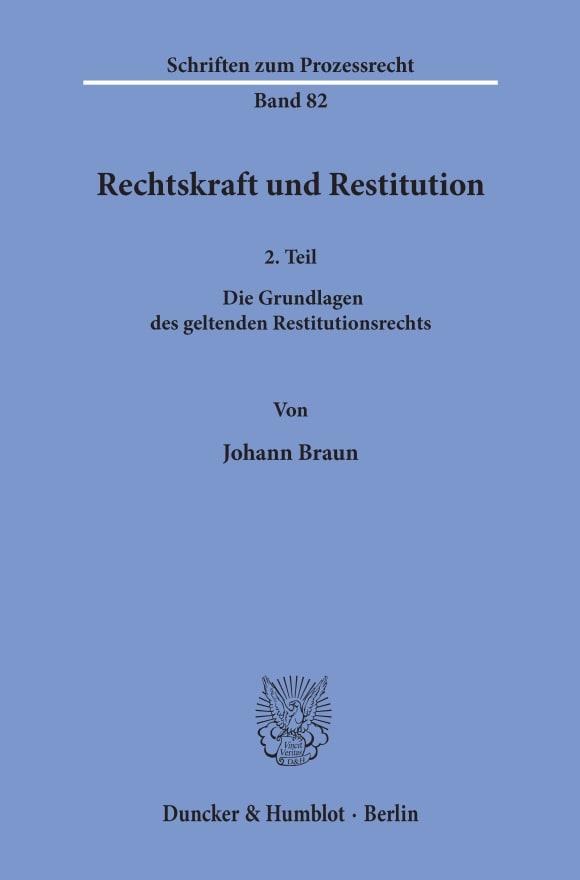 Cover Rechtskraft und Restitution