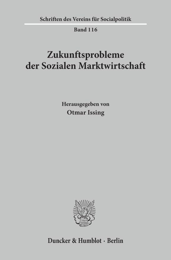 Cover Zukunftsprobleme der Sozialen Marktwirtschaft