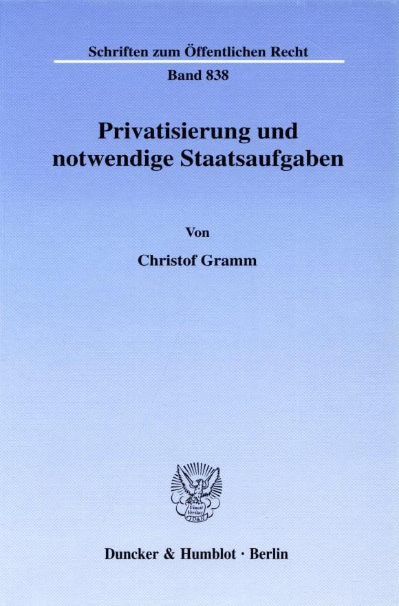Cover Privatisierung und notwendige Staatsaufgaben