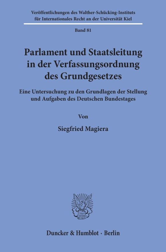 Cover Parlament und Staatsleitung in der Verfassungsordnung des Grundgesetzes