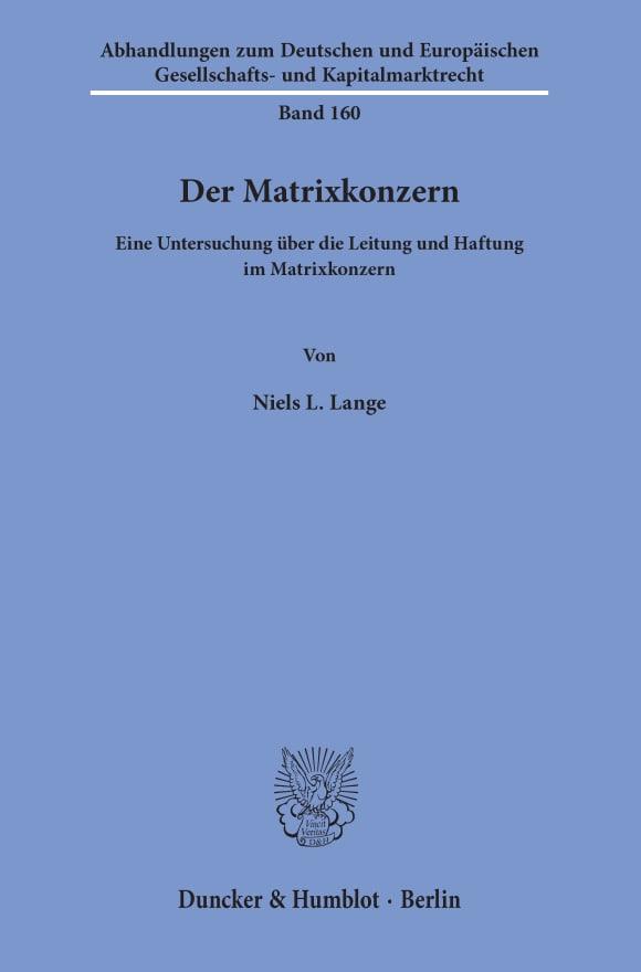Cover Der Matrixkonzern