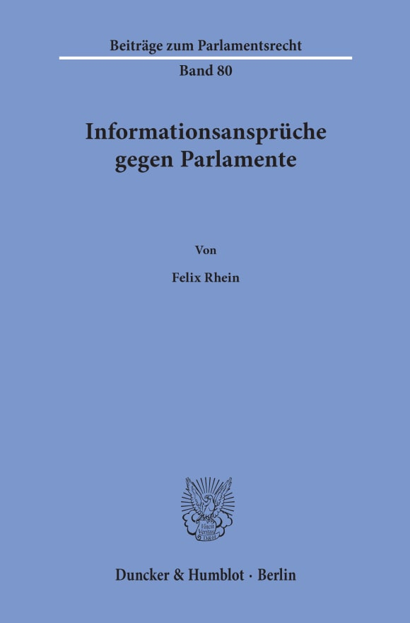 Cover Beiträge zum Parlamentsrecht (BPR)